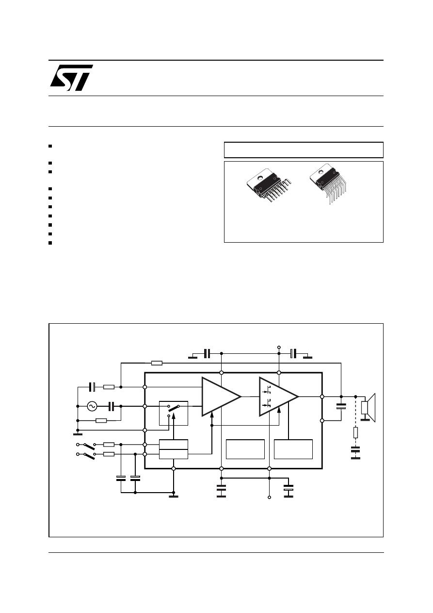 Tda7294v Datasheet Pdf Download 1 17 Page Stmicroelectronics Tda7294 100w Audio Amplifier 100v Dmos