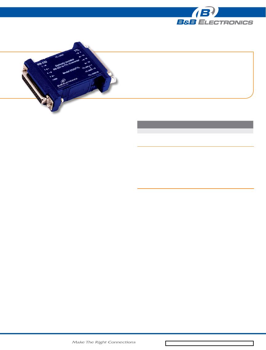 232TTL Datasheet (PDF Download) 1/2 Page - B&B Electronics